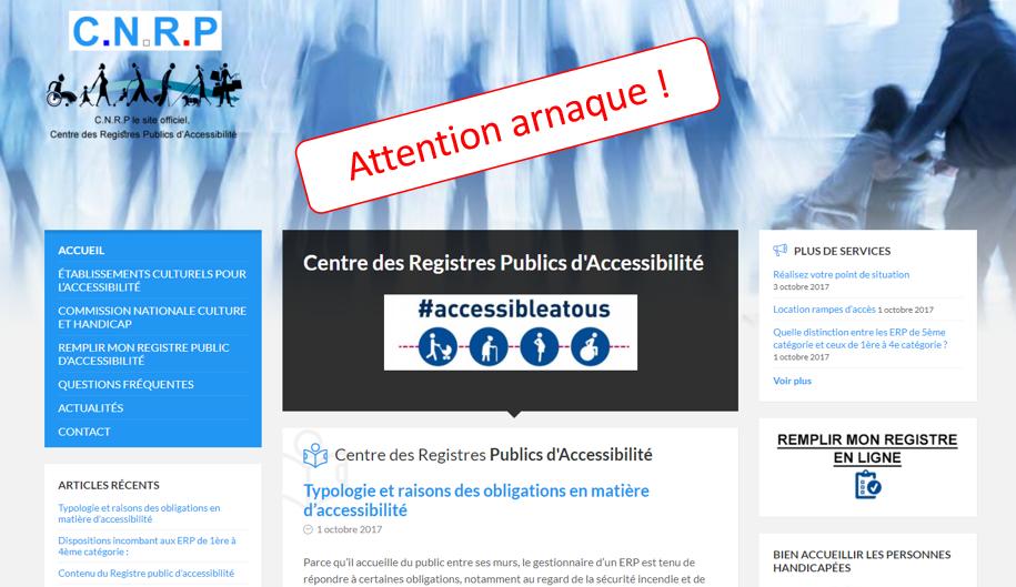 arnaque registre public d'accessibilite